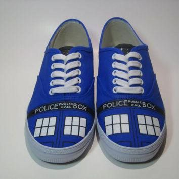 CUPUPH3 Tardis Shoes, Hand Painted Doctor Who Vans Shoes, Hand Painted Doctor Who Canvas Sneak