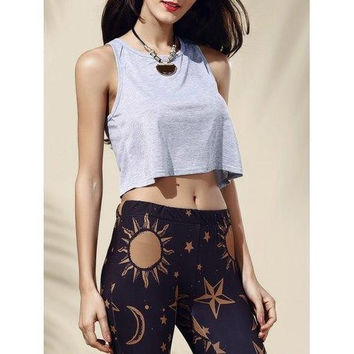 Stylish Jewel Neck Cross Back Cut out  Crop Top For Women