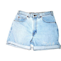 light wash LEVIS cut offs 90s vintage pale faded denim rolled up jean shorts size 30