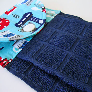 Button-Top Dish Towel - Quilted Hanging Kitchen Towel - Navy Blue Dish Towel - Custom Kitchen Towel - Retro Kitchen - Decorative Towel