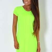 Maedon Acid Neon Green Pleated Crepe Shift Dress | Pink Boutique