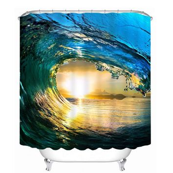 MYRU 3D Print Waterproof Sea Wave Shower Curtains Bath Products Bathroom Decor with Hooks