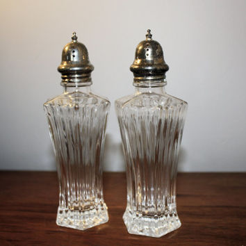 Vintage Cut Glass Salt and Pepper Shakers, Silver Topped Shakers