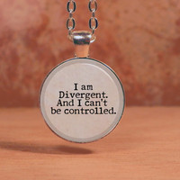 "Divergent ""I am Divergent and I can't be controlled."" Tris Dauntless Pendant Necklace Inspiration Jewelry"