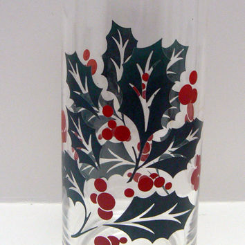Christmas Holiday Festive Drinkware Holly Berry Tea Glass Tumbler Glassware