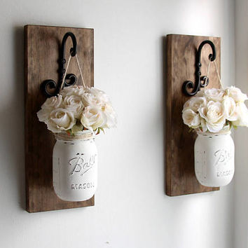 Rustic Home Decor -Mason Jars Sconce-Rustic Sconces-Rustic Wall Decor-Farmhouse Sconce-Wall Hanging Decor-Hanging Mason Jars-Farmhouse Decor