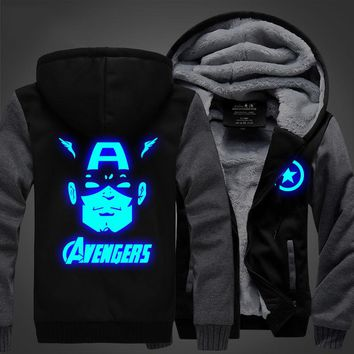New winter coats hoodie Avengers jackets light Anime Hooded Zipper men thick cardigan  Captain America
