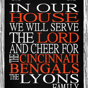Customized Name Cincinnati Bengals NFL football personalized family print poster Christian gift sports wall art - multiple sizes