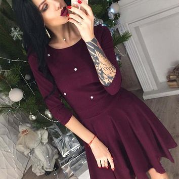 Women Beading Pearls Casual Party Dress Three Quarter Sleeve O neck Solid Dress 2018 Spring A line Fashion Sexy Women Mini Dress