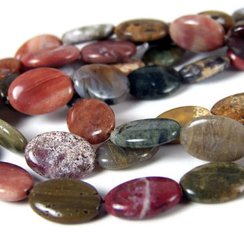 OCEAN JASPER gemstone beads, 14mm x 10mm flat oval bead, full strand (269S)