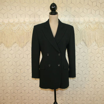 Long Fitted Blazer Jacket Black Wool Jacket Double Breasted Womens Jackets Medium Black Jacket Luciano Barbera Made in Italy Womens Clothing