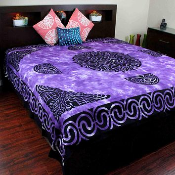 Celtic Flame Tapestry Cotton Spread Dorm Throw Beach Sheet Purple 88 x 104 inch