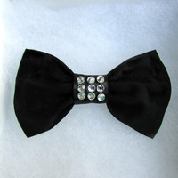 Hair Bow- Bow Tie- Black, Silver, Black Hair Bow, Bows for hair ,Hair bows for teens and women, girls hair bows, clip on hair bows