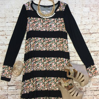 Once was Love Black Floral Print Dress