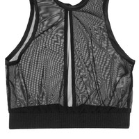 High Neck Sheer Layering Cami - Black, Knit Band