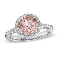 8.0mm Morganite and Diamond Accent Ring in Sterling Silver - Size 7