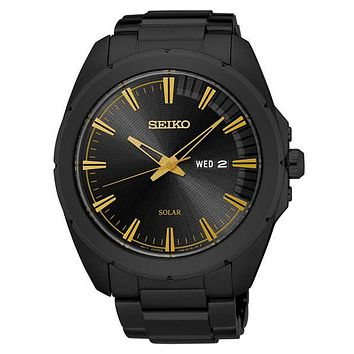 Seiko Mens Recraft Solar Day/Date Sport Watch - Black & Gold-Tone - Bracelet
