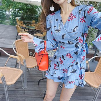Leaves Print Bell Sleeve Dress