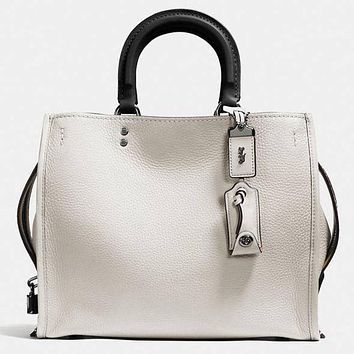 COACH Shopping Tote Handbag Shoulder Leather Bag For Women White G