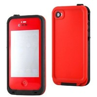 GEARONIC Red Waterproof Shockproof Full Body Skin Case Cover Pouch for iPhone 4 4S 4G, Multi Purpose Protective Skin for water, shock, snow, dirt