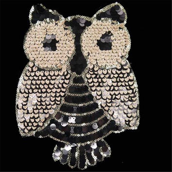 Sequins patch DIY Owl golden patches for clothes Sew-on embroidered patch motif applique deal with it free shipping