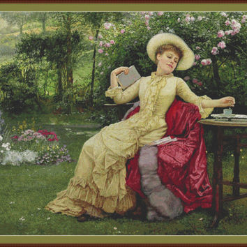Drinking coffee and reading in the garden by Edward Killingworth Johnson CROSS STITCH PATTERN 832