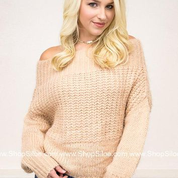 Off Shoulder Fuzzy Sweater | Tan