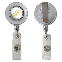 Wedding Rings - Love Romance Retractable Reel Chrome Badge ID Card Holder