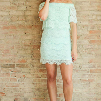 TINSLEY LACE DRESS - Seafoam