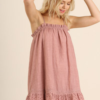 Rose Eyelet Lace Trim Summer Dress