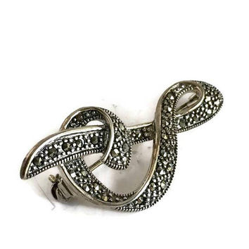 Silver Musical Note Brooch , Sterling and Marcasite Brooch, Treble Clef Brooch, Vintage Brooch, Vintage Silver Brooch