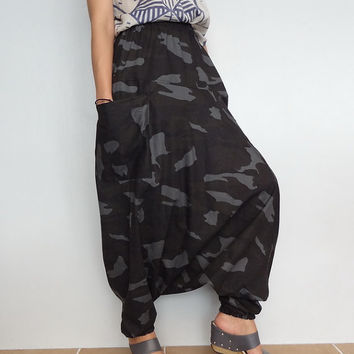 Black Army Camo Print, Cotton Harem Drop Crotch Pant,Unisex Baggy Trouser, (pants-C4).