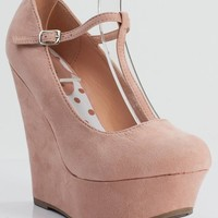 Breckelle Cilo-15 Almond Toe Mary Jane T-Strap Platform Wedge