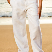 Boy's Linen Amalfi Pants: White, Ivory, Chocolate & Black colours - Island Importer