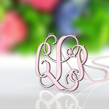 Pink rose gold plated monogram necklace -- 1.25 inch 3 initial name pendant monogram necklace