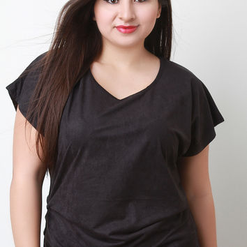 Vegan Suede Short Sleeved Top