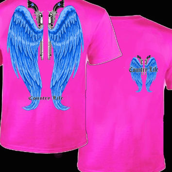 Country Life Outfitters Pink & Blue Wings Guns Vintage Girlie Bright T Shirt