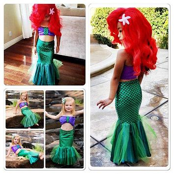 Toddle girls Mermaid Tail dress Cute princess ariel dress cosplay costume for girl fancy green dress