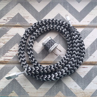New Super Cute Chevron Designed Loom Banded 4ft Certified Cable Cord + Black & white Chevron Designed USB Connector