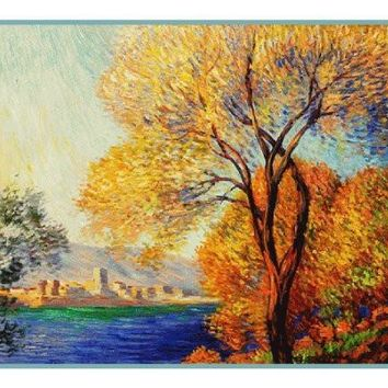 Antibes View of Salis inspired by Claude Monet's impressionist painting Counted Cross Stitch or Counted Needlepoint Pattern
