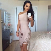 Sleeveless One-Shoulder Sexy Sequined Bodycon  Dress
