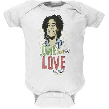 ICIK8UT Bob Marley One Love White Baby One Piece