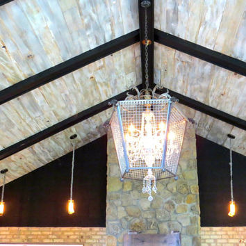 Cloud Pine - Old Growth Ceiling/Wall Planks - Solid Wood - White, Gray, Cream