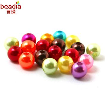 Pick Size 4mm 6mm 8mm 10mm 15Colors Round Plastic ABS Imitation Pearl Beads For DIY Handmade Bracelets&Necklaces Jewelry makings