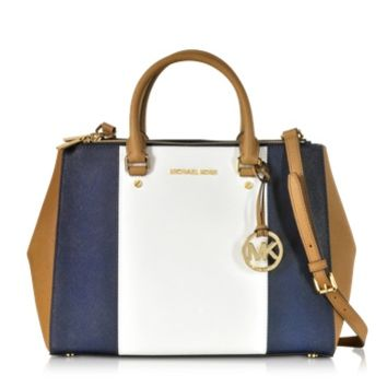 Michael Kors Designer Handbags Sutton Large Color-Block Leather Satchel
