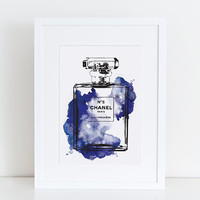 All 3 Sizes Chanel No.5 water colour Navy, Perfume Print-PRINTABLE FILE  A3 A4 A5 perfume Chanel poster, Coco no5, Fashion art, Gift for her