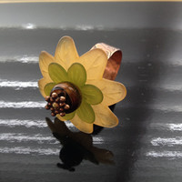 Butternut and Avocado Floral Adjustable Ring