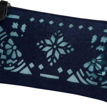 """Navy and Aqua - 8"""" x 0.5"""" x 4.5"""" Pouch"""