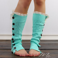 Knitted Leg Warmers, Button Down Boot Socks, Open Knit Boot Socks with Wooden Buttons, Mint Boot Socks, Cable Knit Leg Warmers & Lace Trim
