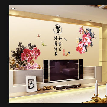 Chinese style style HM18032 home, riches and honor peony sitting room the bedroom TV setting wall of PVC wall SM6